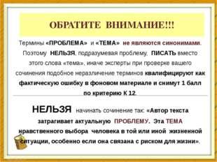 ОБРАТИТЕ ВНИМАНИЕ!!! Термины «ПРОБЛЕМА» и «ТЕМА» не являются синонимами. Поэт