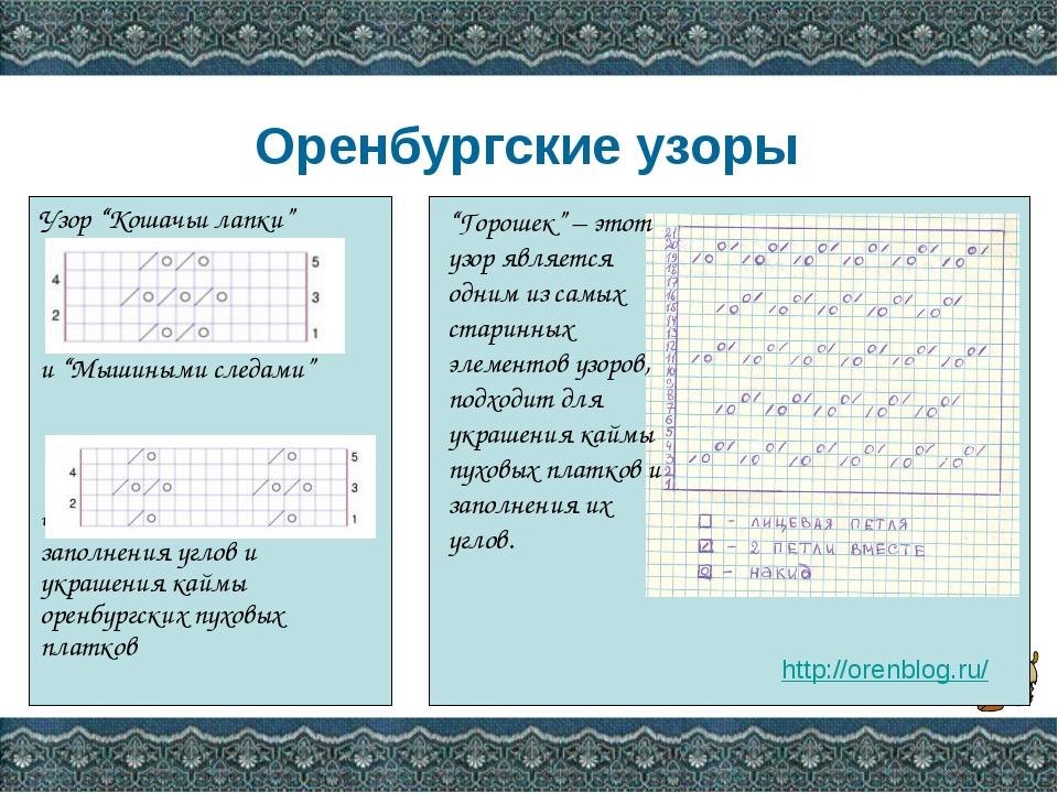 """Оренбургские узоры Узор """"Кошачьи лапки"""" и """"Мышиными следами"""" часто применяет..."""