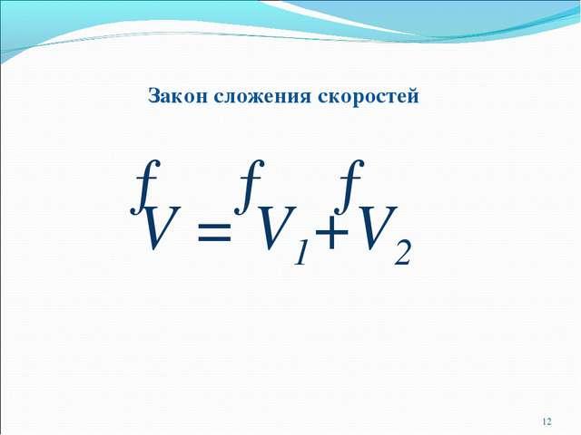 Закон сложения скоростей *