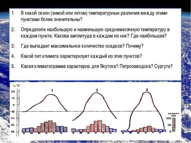 В какой сезон (зимой или летом) температурные различия между этими пунктами б...