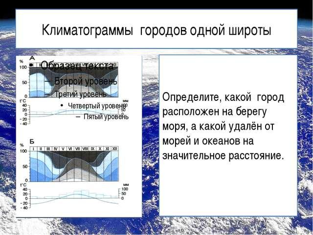 Климатограммы городов одной широты Определите, какой город расположен на бере...