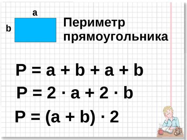 а b P = (a + b) · 2 P = a + b + a + b P = 2 · a + 2 · b Периметр прямоугольника
