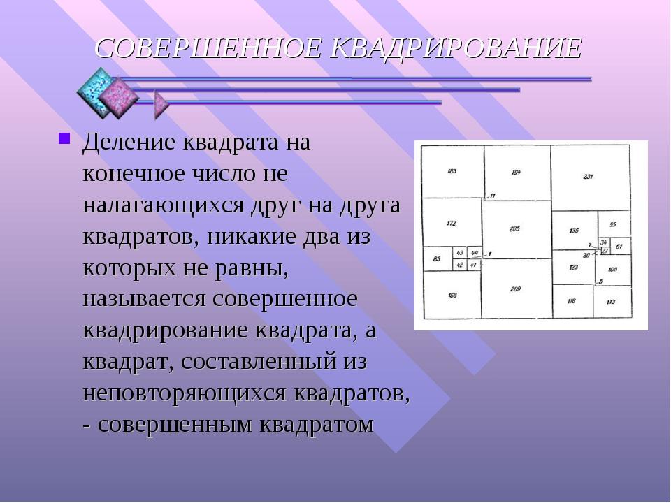 Деление квадрата на конечное число не налагающихся друг на друга квадратов, н...