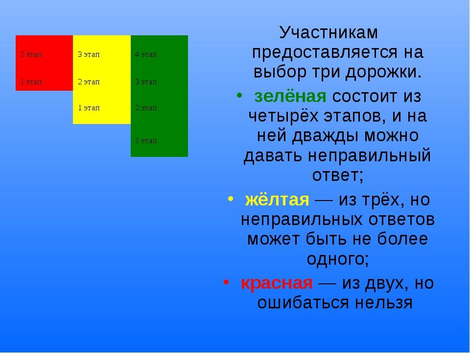 Участникам предоставляется на выбор три дорожки. зелёная состоит из четырёх э...