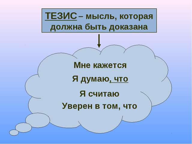 ТЕЗИС – мысль, которая должна быть доказана Мне кажется Я думаю, что Я считаю...