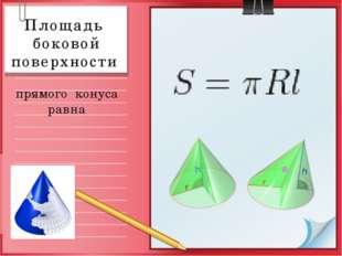 Площадь боковой поверхности прямого конуса равна