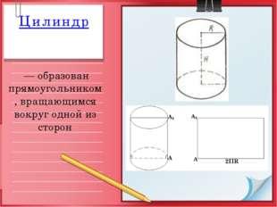 Цилиндр — образован прямоугольником, вращающимся вокруг одной из сторон