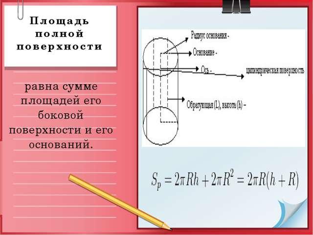 Площадь полной поверхности равна сумме площадей его боковой поверхности и его...