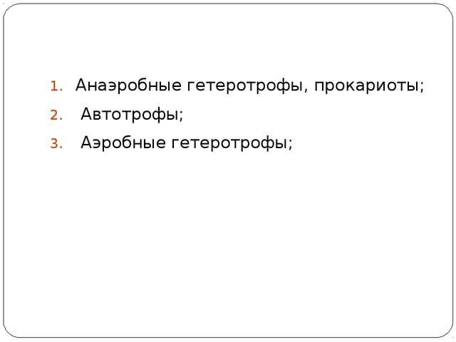 Анаэробные гетеротрофы, прокариоты; Автотрофы; Аэробные гетеротрофы;