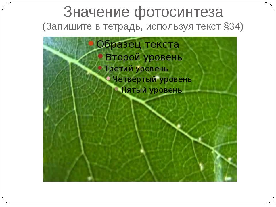 Значение фотосинтеза (Запишите в тетрадь, используя текст §34)