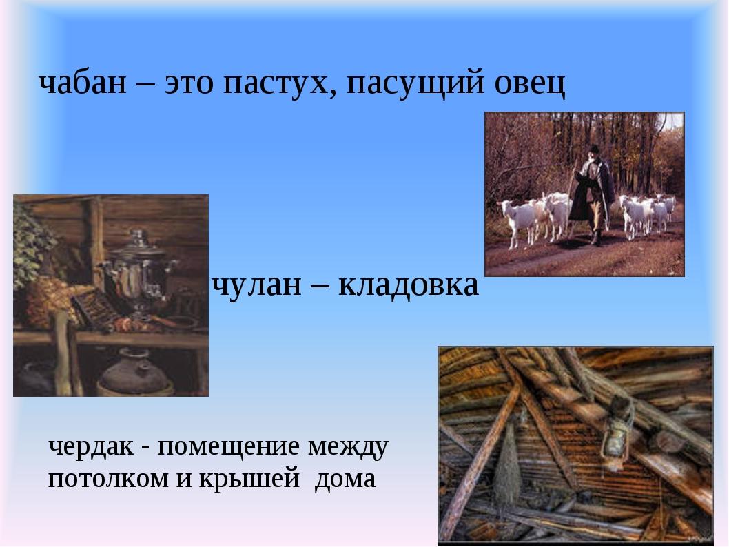 чабан – это пастух, пасущий овец чулан – кладовка чердак - помещение между по...