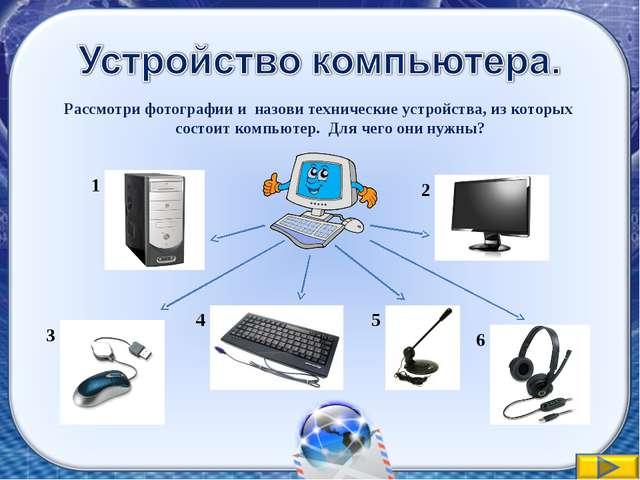 Рассмотри фотографии и назови технические устройства, из которых состоит комп...