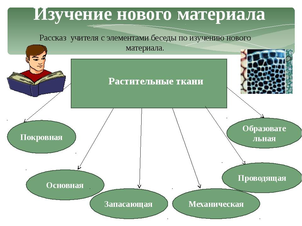 Рассказ учителя с элементами беседы по изучению нового материала. Изучение но...