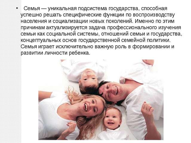 Семья — уникальная подсистема государства, способная успешно решать специфич...