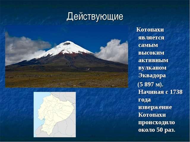 Действующие Котопахи является самым высоким активным вулканом Эквадора (5 897...