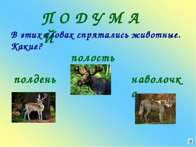 П О Д У М А Й В этих словах спрятались животные. Какие? полдень полость навол...