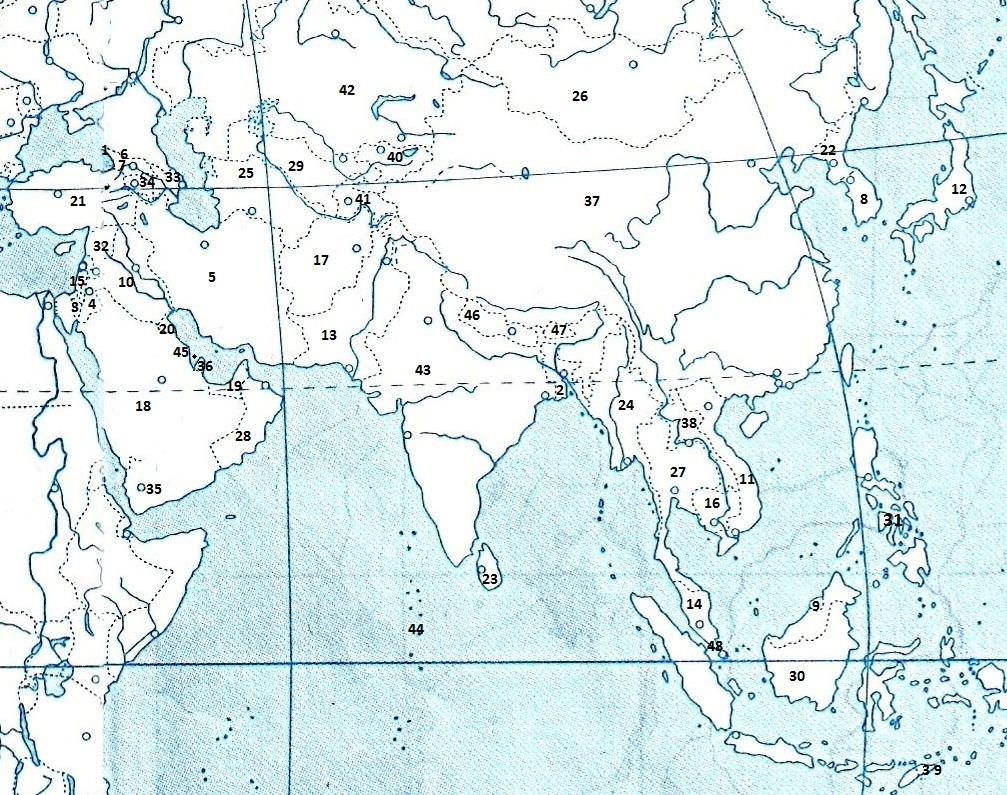 Зарубежная азия контурная карта 11 класс