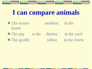 I can compare animals The mouse smallest in the house The pig is the dirtiest