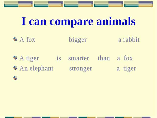 I can compare animals A fox bigger a rabbit A tiger is smarter than a fox An...