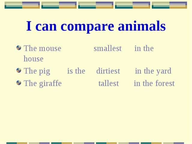 I can compare animals The mouse smallest in the house The pig is the dirtiest...