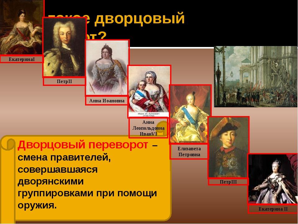 Дворцовый переворот – смена правителей, совершавшаяся дворянскими группировка...