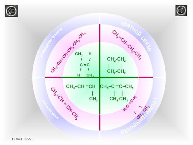 СH3 H \ / С =С / \ H CH3 СН2-СН2 | | CH2-CH2 СН3–СН =СН | CH3 СН3–С =С–СН3 |...