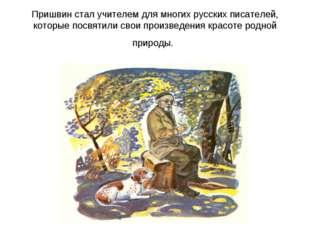 Пришвин стал учителем для многих русских писателей, которые посвятили свои пр