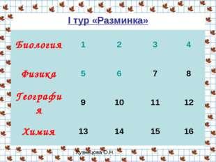 I тур «Разминка» Биология1234 Физика5678 География9101112 Химия1