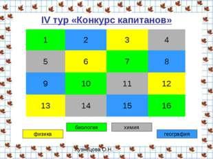 IV тур «Конкурс капитанов» физика биология химия география 1234 5678 9