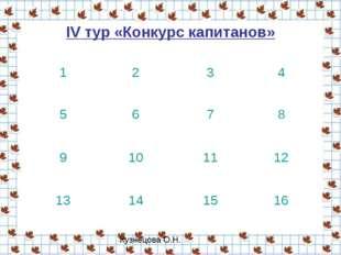 IV тур «Конкурс капитанов» 1234 5678 9101112 13141516 Кузнецова О