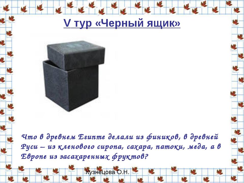 V тур «Черный ящик» Что в древнем Египте делали из фиников, в древней Руси –...