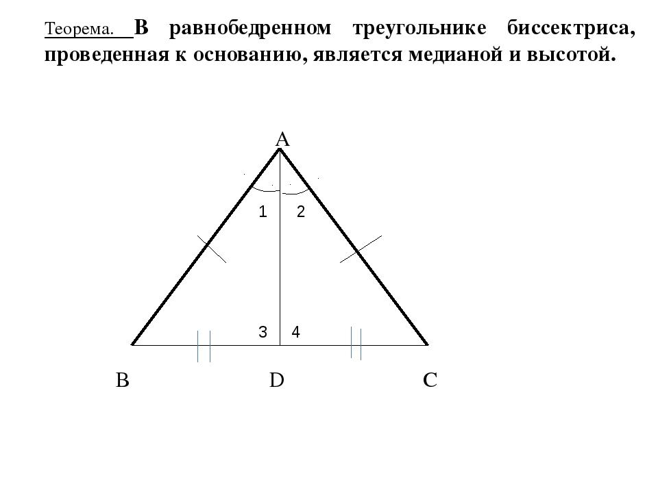 Теорема. В равнобедренном треугольнике биссектриса, проведенная к основанию,...
