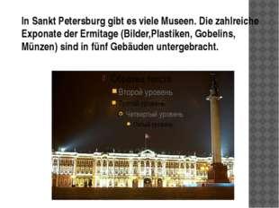 In Sankt Petersburg gibt es viele Museen. Die zahlreiche Exponate der Ermita