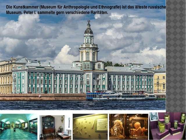 Die Kunstkammer (Museum für Anthropologie und Ethnografie) ist das älteste ru...