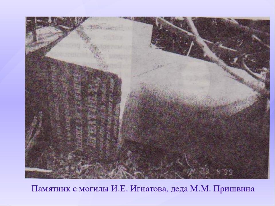 Памятник с могилы И.Е. Игнатова, деда М.М. Пришвина