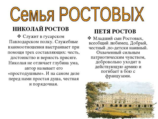 НИКОЛАЙ РОСТОВ Служит в гусарском Павлодарском полку. Служебные взаимоотношен...