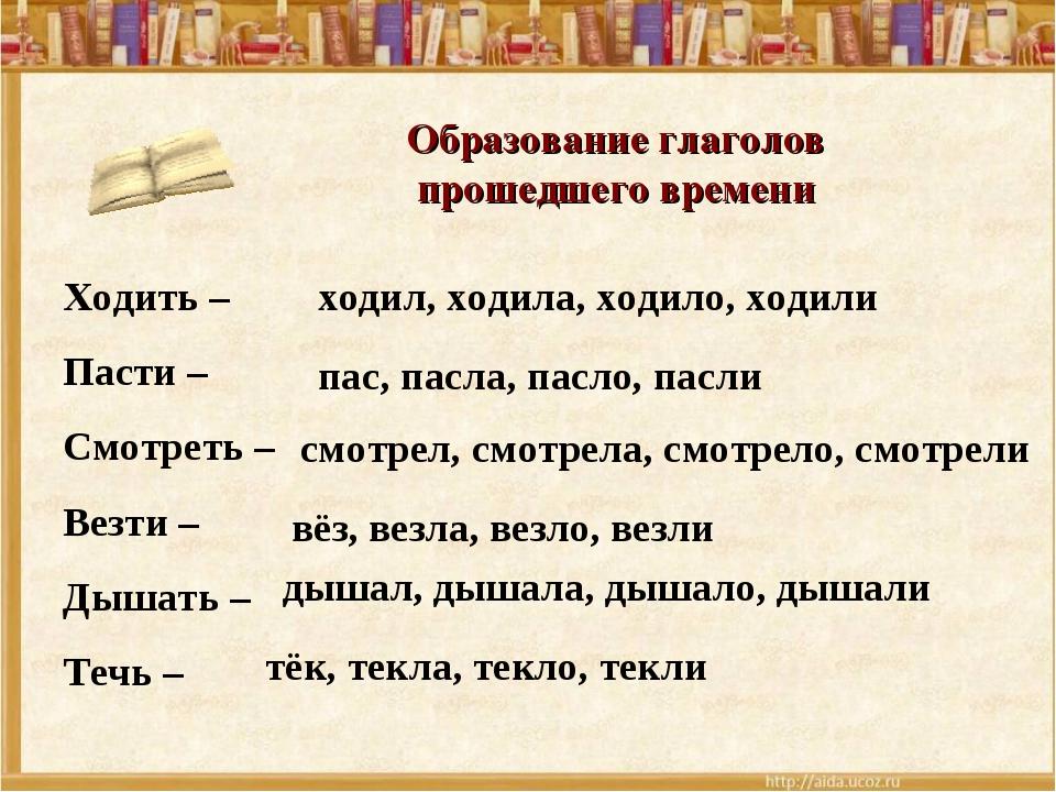Образование глаголов прошедшего времени Ходить – Пасти – Смотреть – Везти – Д...
