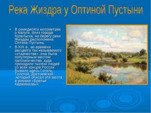 В семидесяти километрах о Калуги, близ города Козельска, на берегу реки Жиздр