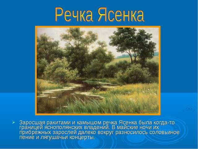 Заросшая ракитами и камышом речка Ясенка была когда-то границей яснополянских...