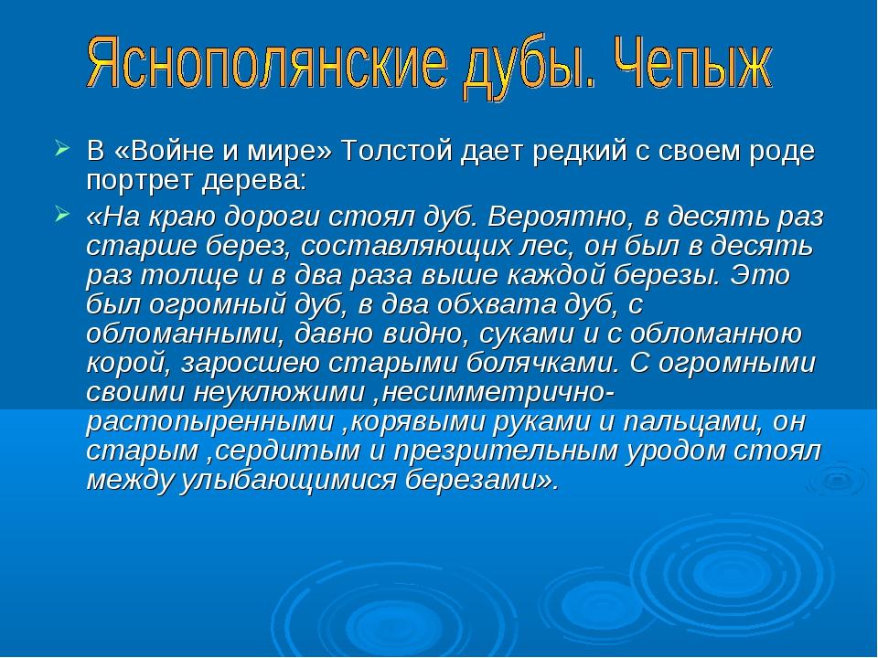 В «Войне и мире» Толстой дает редкий с своем роде портрет дерева: «На краю до...
