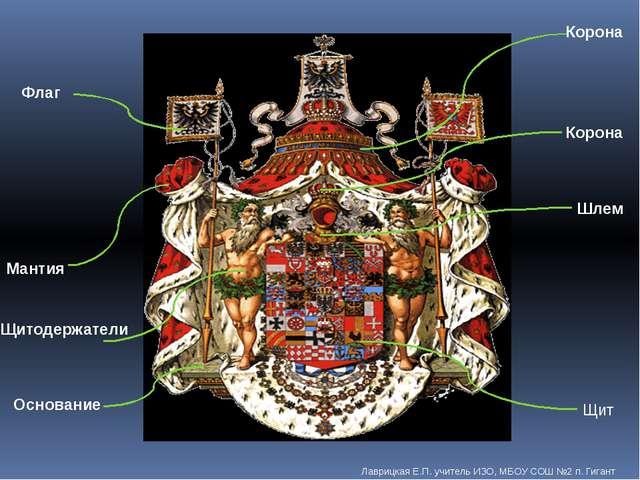 Щит Мантия Основание Шлем Щитодержатели Корона Корона Флаг Лаврицкая Е.П. учи...