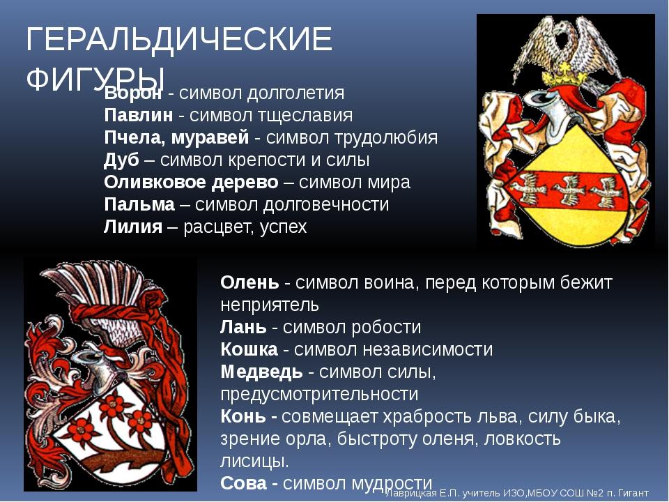 ГЕРАЛЬДИЧЕСКИЕ ФИГУРЫ Олень - символ воина, перед которым бежит неприятель Ла...