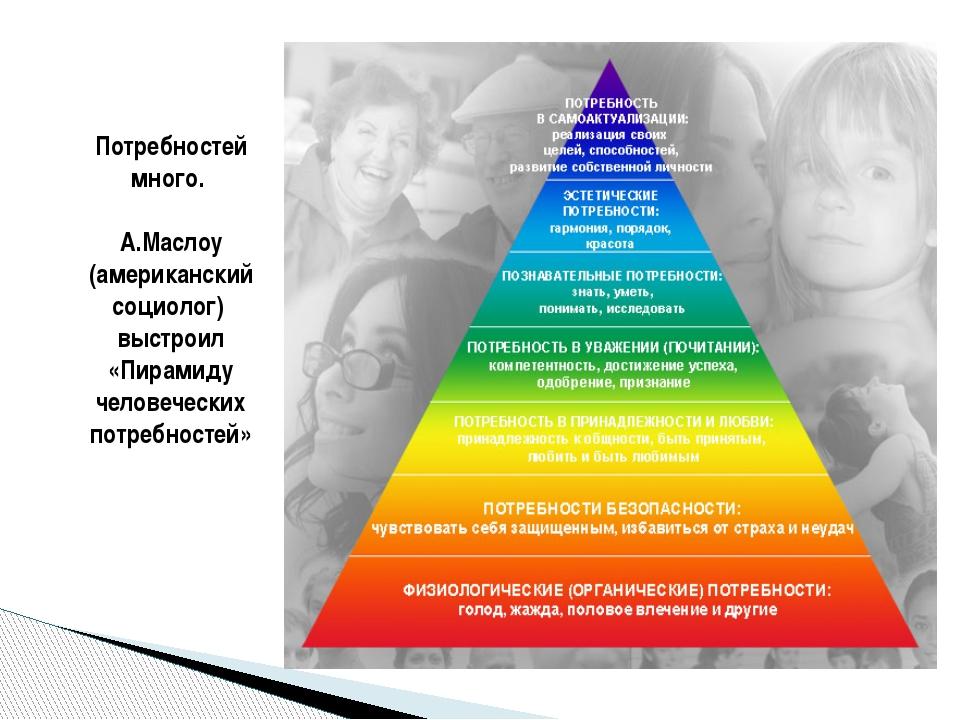 Потребностей много. А.Маслоу (американский социолог) выстроил «Пирамиду челов...
