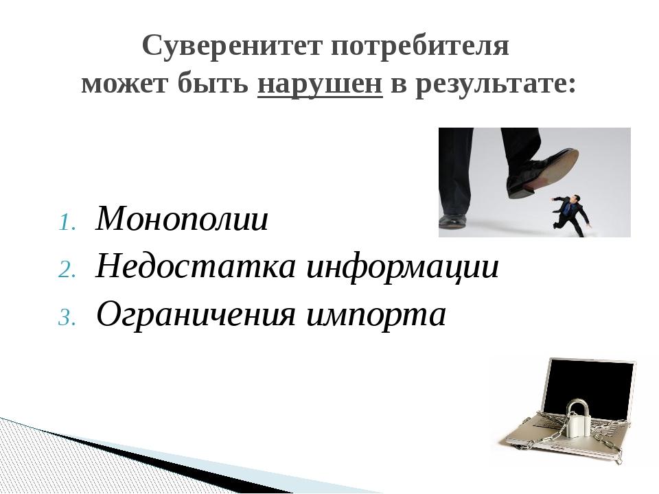 Монополии Недостатка информации Ограничения импорта Суверенитет потребителя м...