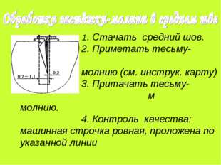1. Стачать средний шов. 2. Приметать тесьму- молнию (см. инструк. карту) 3.