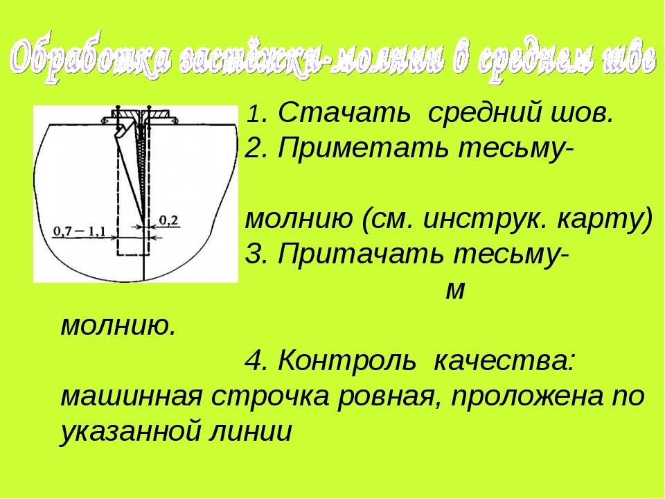 1. Стачать средний шов. 2. Приметать тесьму- молнию (см. инструк. карту) 3....