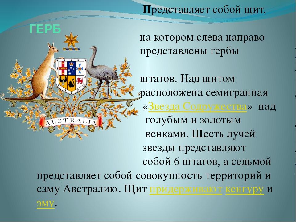 ГЕРБ Представляет собой щит, на котором слева направо представлены гербы штат...