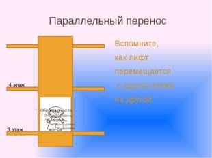 Параллельный перенос Вспомните, как лифт перемещается с одного этажа на друго