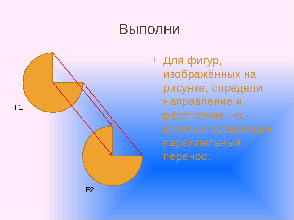 Выполни Для фигур, изображённых на рисунке, определи направление и расстояние...