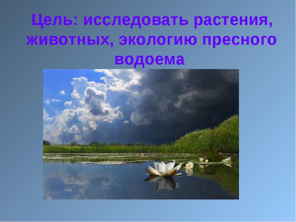 Цель: исследовать растения, животных, экологию пресного водоема
